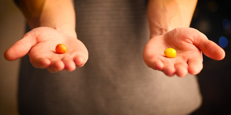 Руки m&m's, выбор